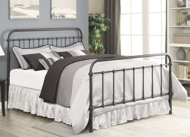 Livingston Dark Bronze King Metal Bed