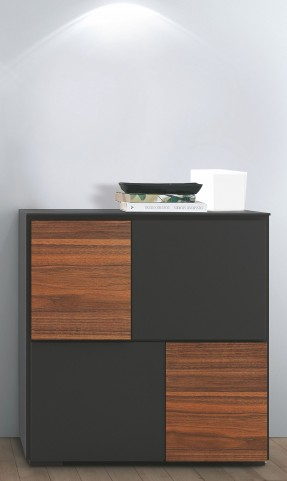 Loft Anthracite Grey and Walnut Cabinet