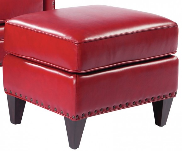 Logan Supple Red Ottoman