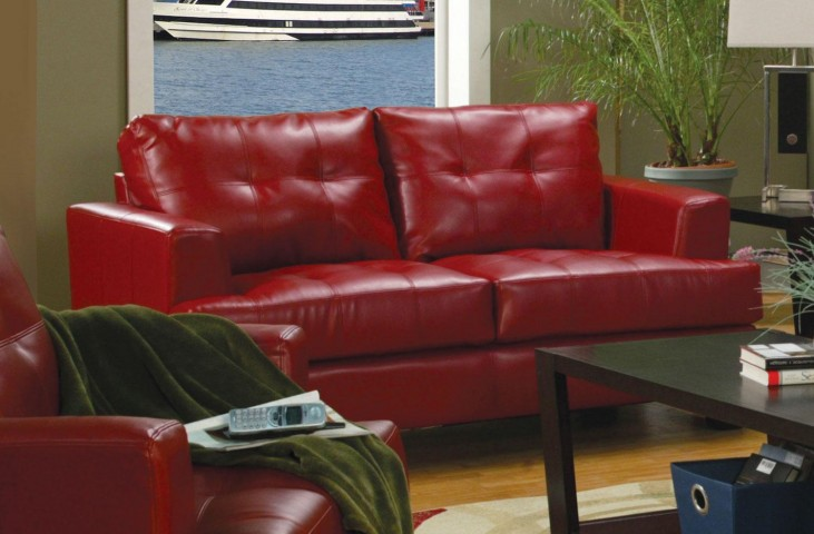 Samuel Red Leather Loveseat - 501832