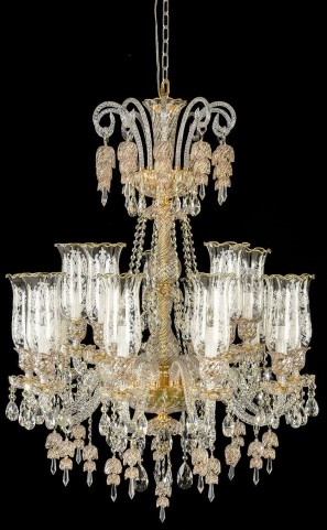 Garnier Clear Glass Gold 15 Light Chandelier