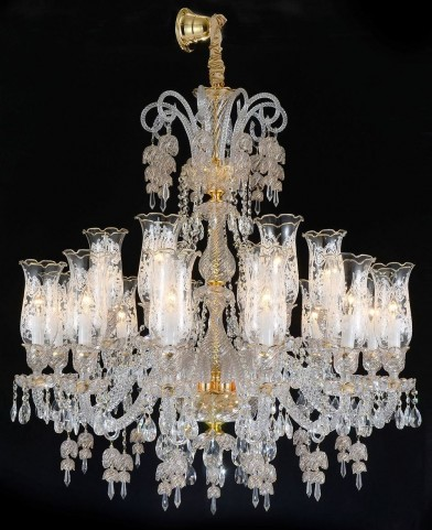 Garnier Clear Glass Gold 18 Light Chandelier