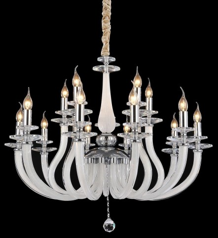 San Marco Opalescent Glass Chrome 15 Light Chandelier