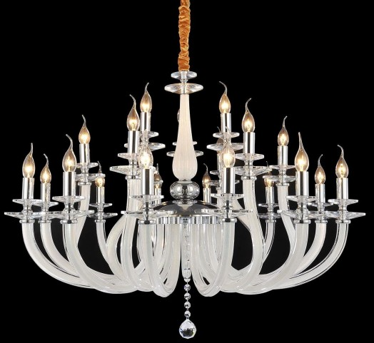 San Marco Opalescent Glass Chrome 21 Light Chandelier