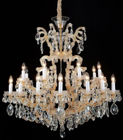 La Scala Cognac Glass Gold 25 Light Chandelier