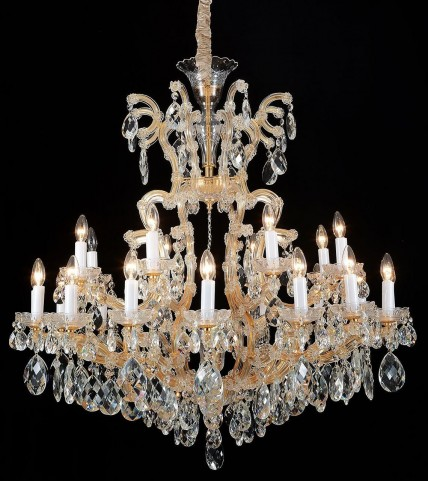 LA Scala Cognac Glass Gold 19 Light Chandelier