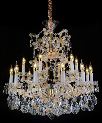 San Carlo Clear Glass Gold 25 Light Chandelier