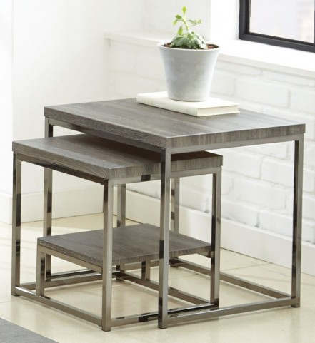 Lucia Black Nickel 2 Piece Nesting Table