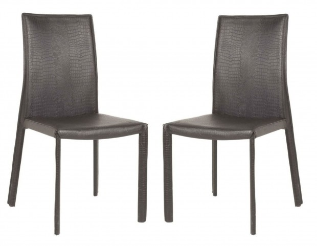 Ritz Luca Matte Black Crocodile Dining Chair Set of 2