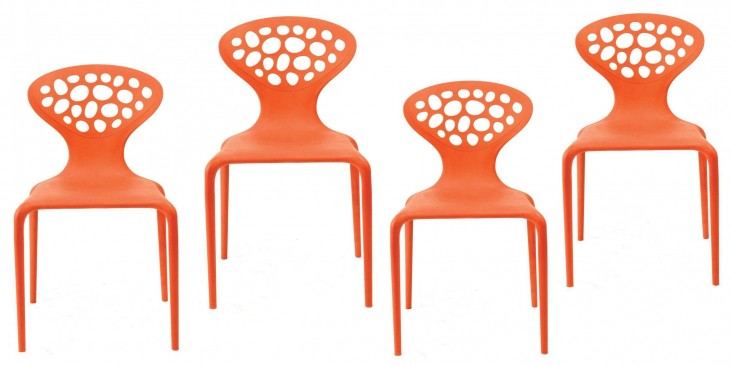 Euro Home Lucy Orange Chair Set of 4