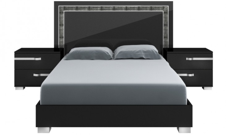 Vivente Black High Gloss Lustro Cal. King Platform Bed