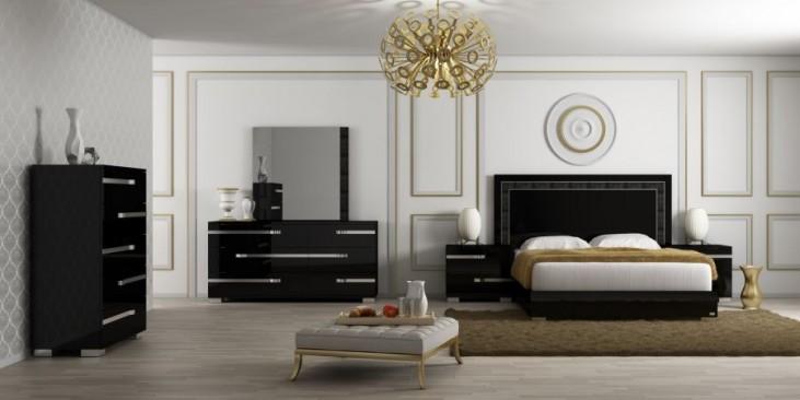 Vivente Lustro Black High Gloss Platform Bedroom Set