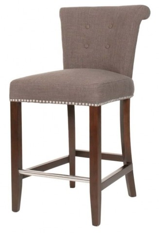 Luxe Espresso Sepia Fabric Counter stool