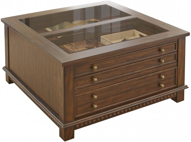Livonia Brown Cherry Square Cocktail Table
