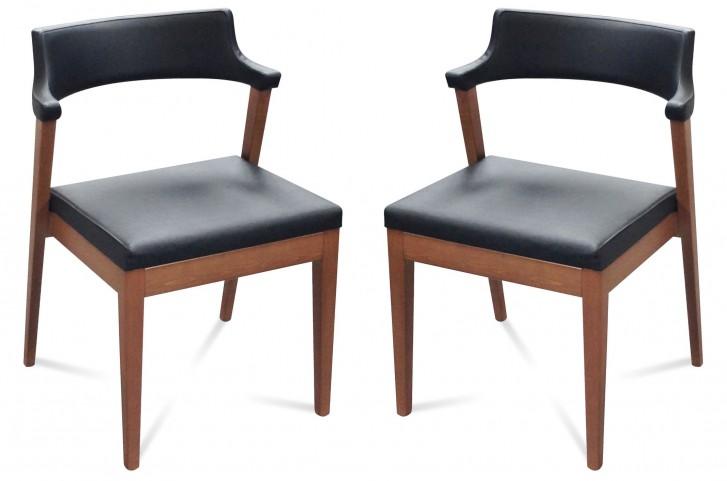 Lyra Black Leather Chair Set of 2