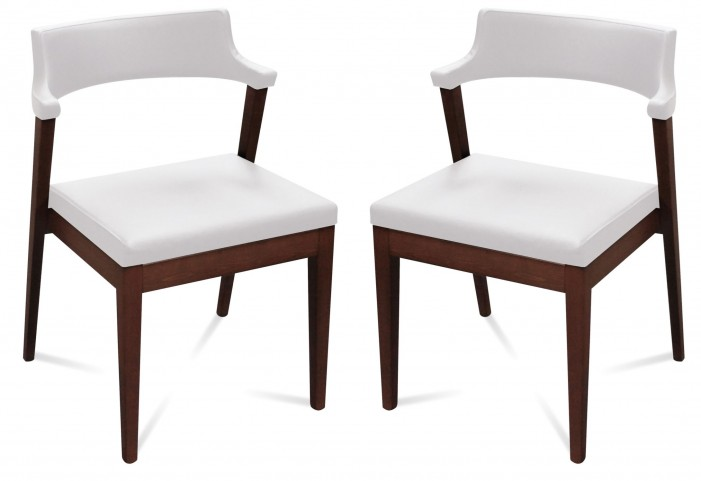 Lyra White Leather Chair Set of 2