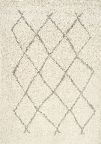 Lyra Cream and Grey Lattice Medium Rug