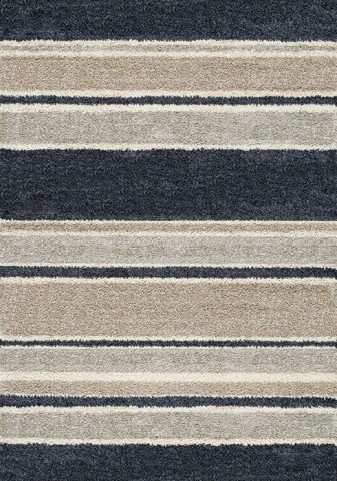 Lyra Beige and Navy Stripes Large Rug