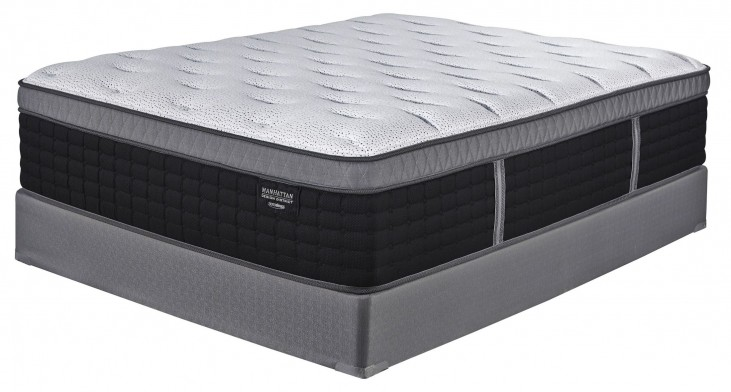 Manhattan Design District Plush et White/Black Queen Mattress With Foundation
