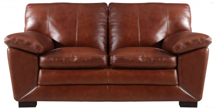 Maeser Pecan Leather Loveseat
