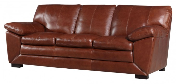 Maeser Pecan Leather Sofa