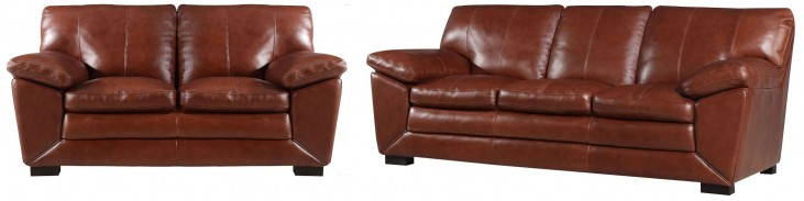 Maeser Pecan Leather Living Room Set