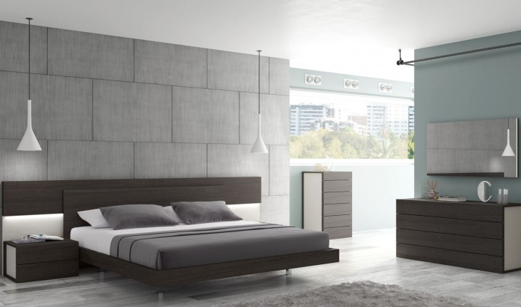 Maia Light Grey Lacquer Platform Bedroom Set
