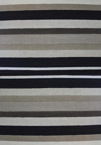 Malabar Beige and Black Stripes Textured Medium Rug