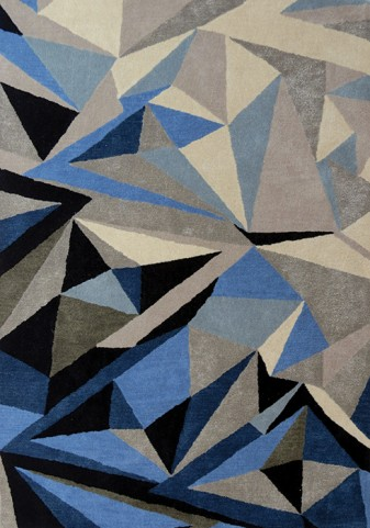 Manika Blue and Grey Triangle Large Rug