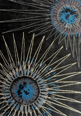 Manika Brown/Blue Sunflower Medium Rug