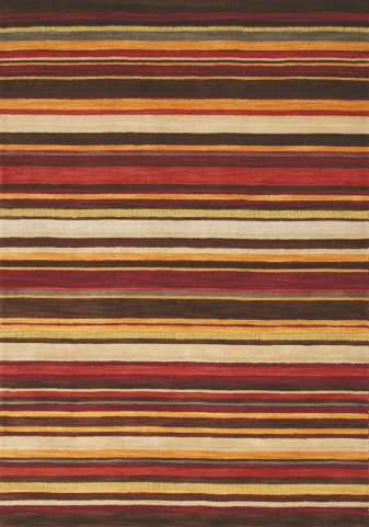 "Mansoori Textured Red Stripes 94"" Rug"