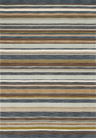 "Mansoori Textured Blue Stripes 63"" Rug"