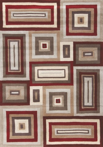 """Mansoori Textured Red Squares 94"""" Rug"""