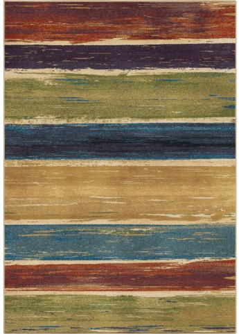 Orian Rugs Bright Color Abstract Beach House Stripe Multi Area Small Rug