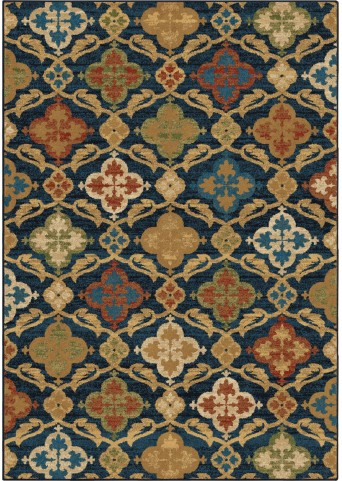 Orian Rugs Bright Color Medallion Tuscan Field Blue Area Small Rug