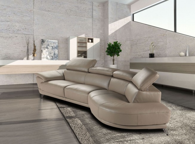 Marisol Taupe Italian RAF Chaise Leather Sectional