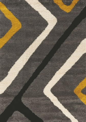 Maroq Grey/Yellow Diamond Corners Soft Touch Medium Rug