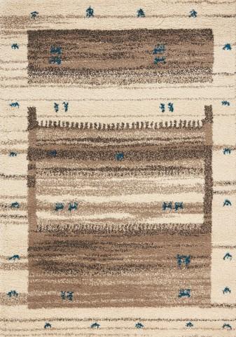 Maroq Brown/Blue Laundry Line Soft Touch Medium Rug