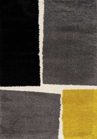Maroq Grey and Yellow and Cream Tilted Squares Soft Touch Large Rug
