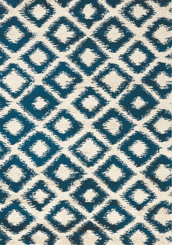 "Maroq Blue Cream Diamonds Soft Touch 63"" Rug"