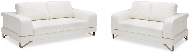 Mia Bella Bianca White Rosegold Leather Living Room Set