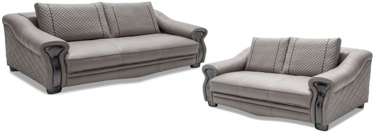 Mia Bella Light Gray Leather Living Room Set