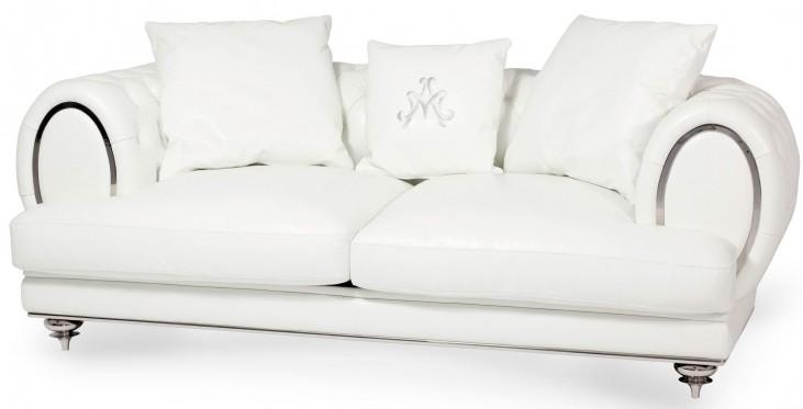 Mia Bella Cream Leather Standard Sofa