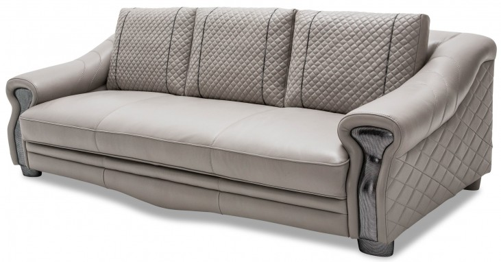 Mia Bella Light Gray Leather Mansion Sofa