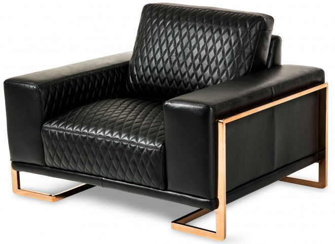 Mia Bella Black Leather Chair and A Half