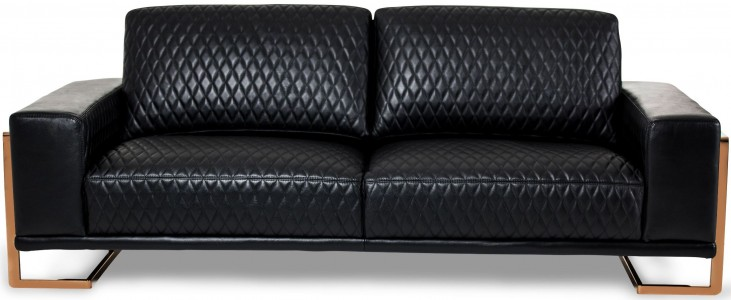 Mia Bella Black Leather Standard Sofa
