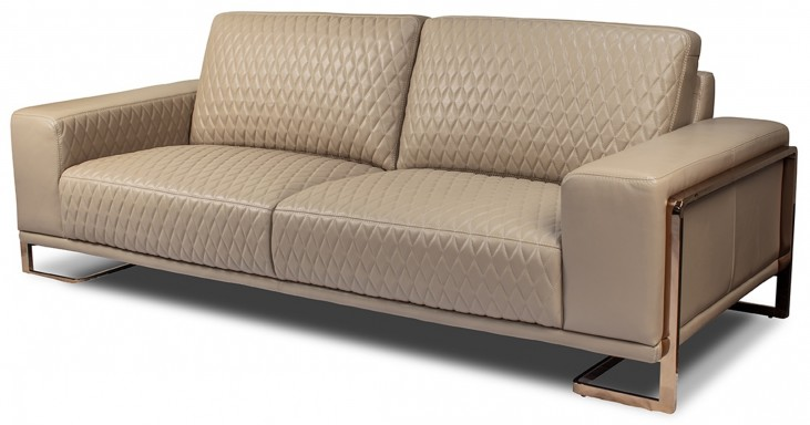 Mia Bella Peach Leather Standard Sofa
