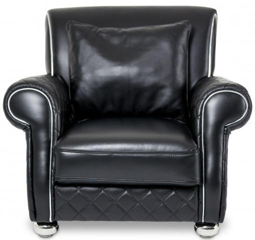Mia Bella Smooth Black Leather Gents Chair