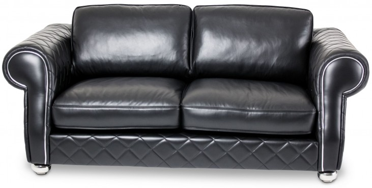Mia Bella Smooth Black Leather Loveseat