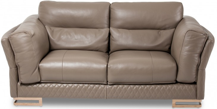 Mia Bella Taupe Leather Loveseat